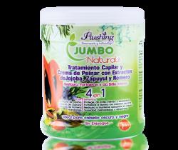 JUMBO NATURALS – Tratamiento Capilar y Crema de Peinar Jojoba, Zapuyul y Romero 1 Kilo Flushing